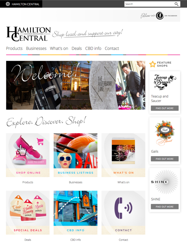 Image showing Hamilton Central online marketplace encouraging shop local