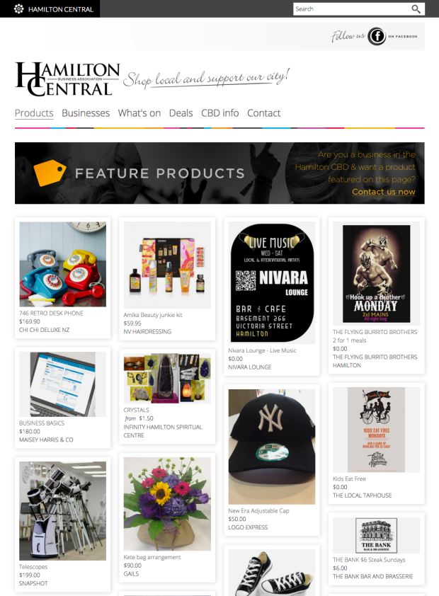 Image showing local products to browse and buy in the Hamilton Central online marketplace