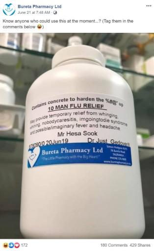 Bureta Pharmacy Man Flu Relief Facebook Post